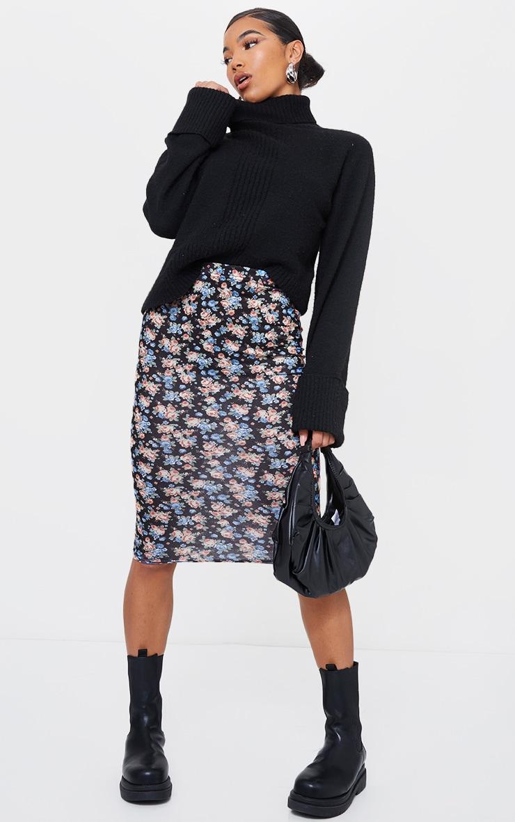 Black Ditsy Printed Basic Midi Skirt 1