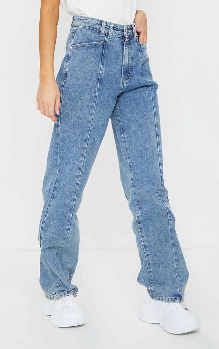 Vintage Wash Seam Front Wide Leg Jean 2
