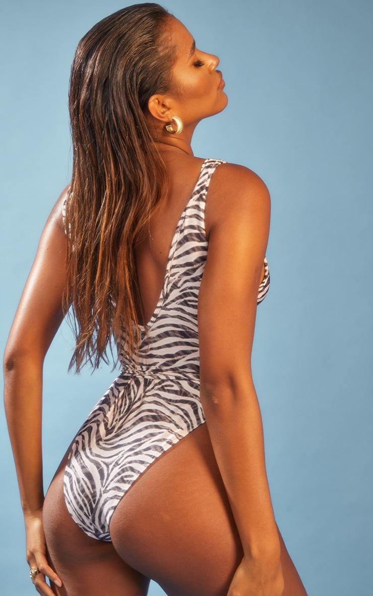 Cream Zebra Ruched Tie Swimsuit 2