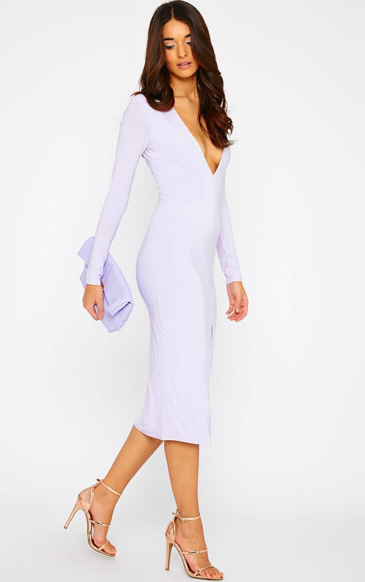 Christa Lilac Slinky Plunge Split Front Midi Dress 3