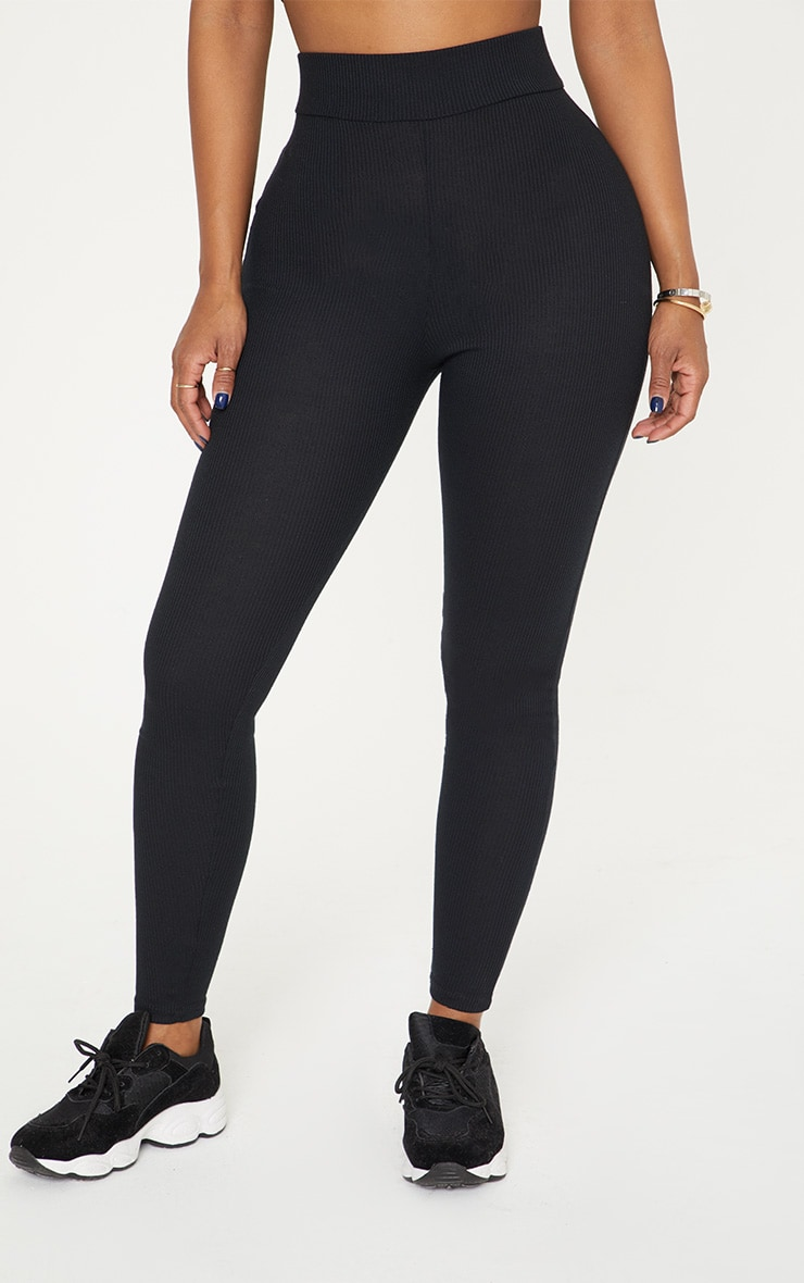 Shape Black Ribbed Leggings 2