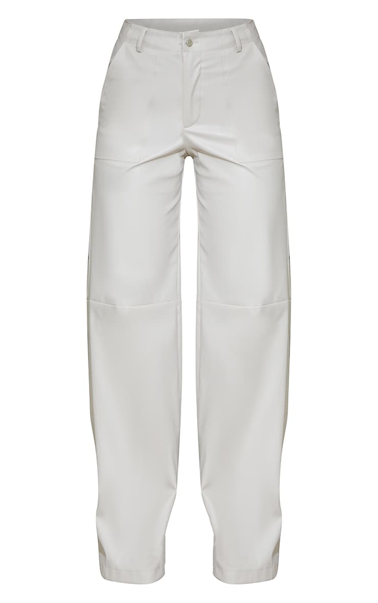 Stone Faux Leather Stitch Detail Wide Leg Trousers 5