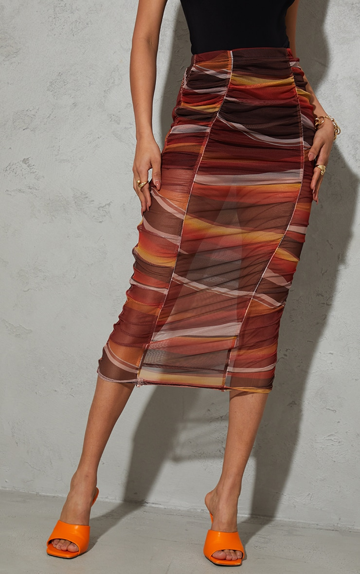 Orange Ombre Stripe Print Mesh Ruched Overlay Maxi Skirt 2