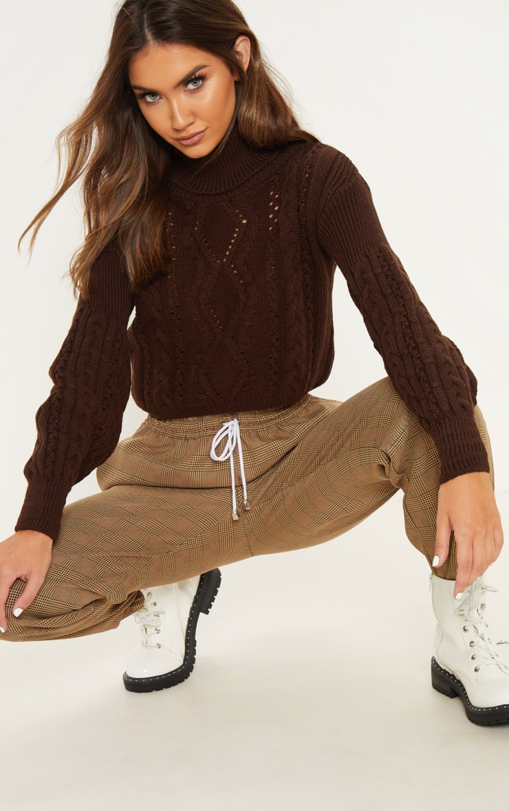 Chocolate Super Cropped Cable Knitted Jumper