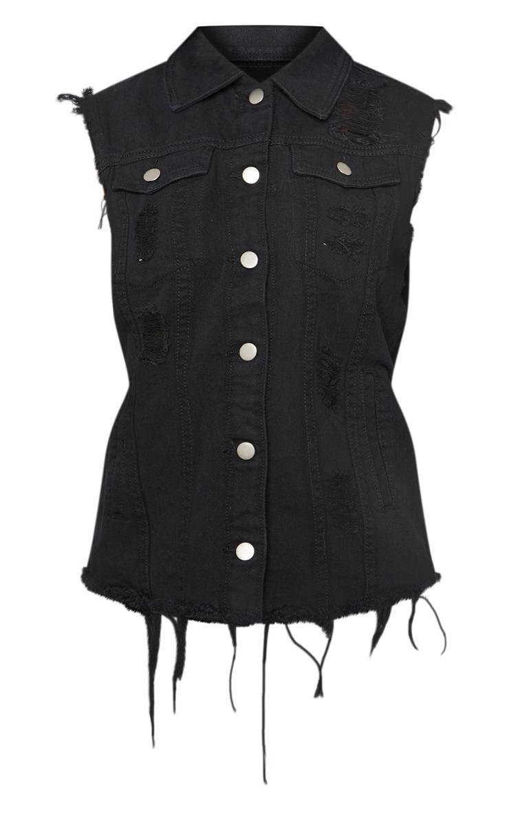 Black Sleeveless Denim Jacket 3