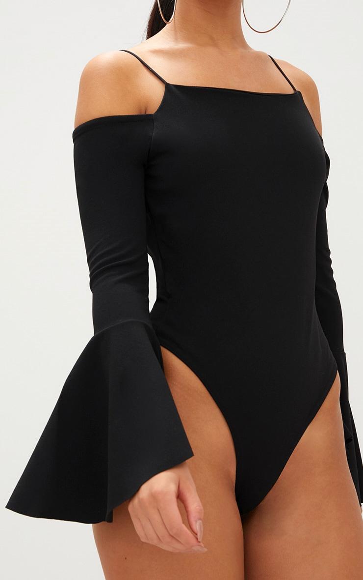 Black Flute Sleeve Cold Shoulder Thong Bodysuit 6