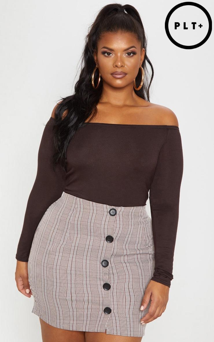 Plus Chocolate Brown Basic Bardot Bodysuit