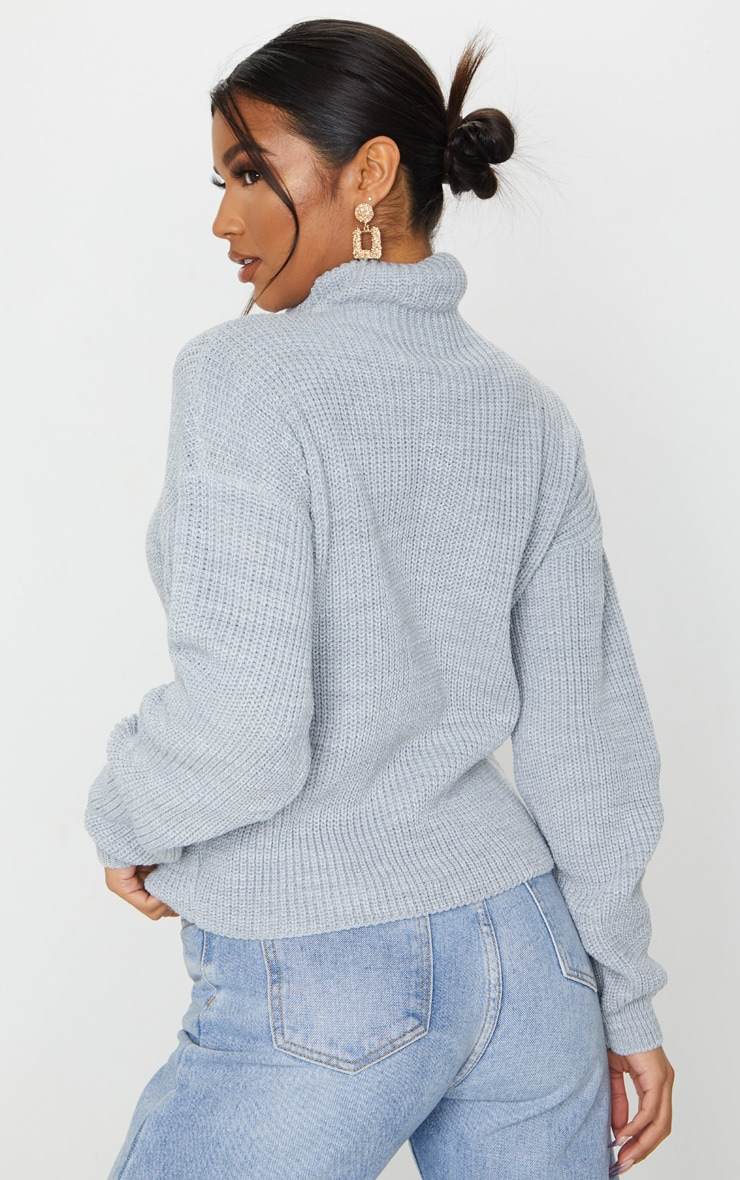 Grey High Neck Sweater 2