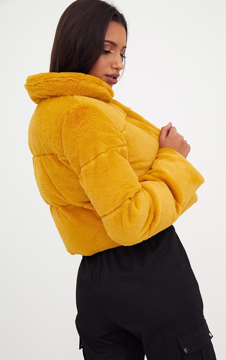Mustard Faux Fur Puffer Jacket 2