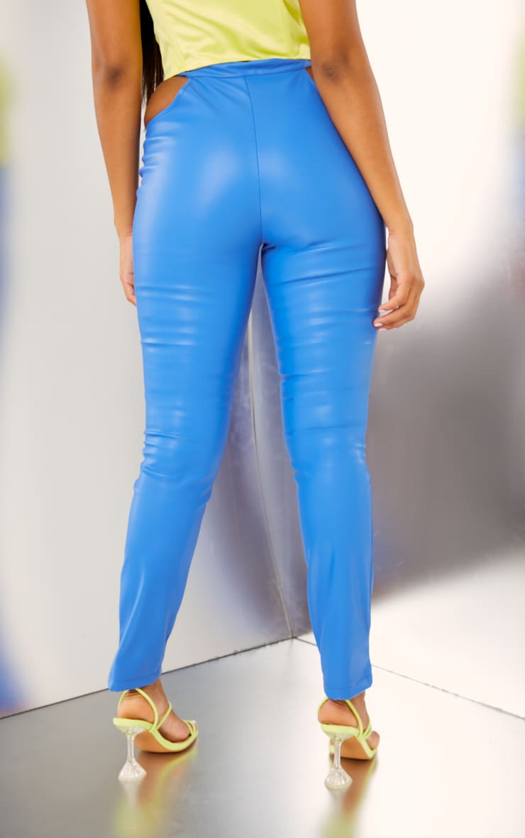 Bright Blue Faux Leather Cut Out Detail Skinny Trousers 3