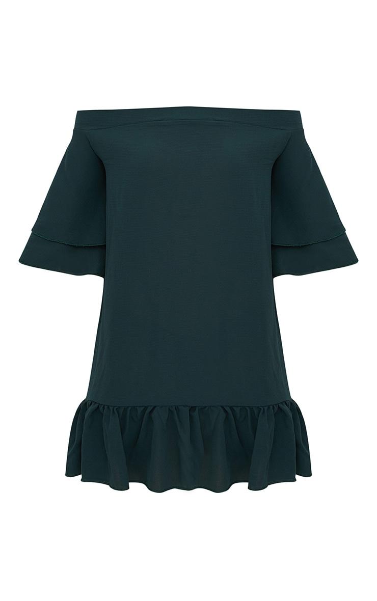 Forest Green Bardot Double Frill Shift Dress 3