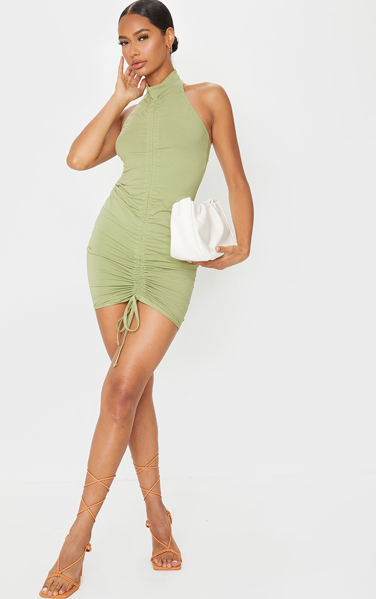 Sage Green Ruched Front Halterneck Bodycon Dress 3