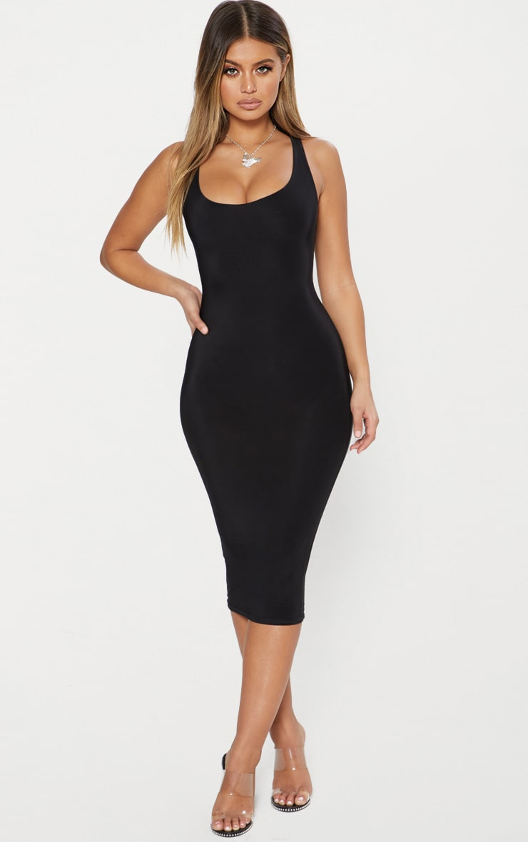 Black Second Skin Double Layered Slinky Scoop Neck Midi Dress 2