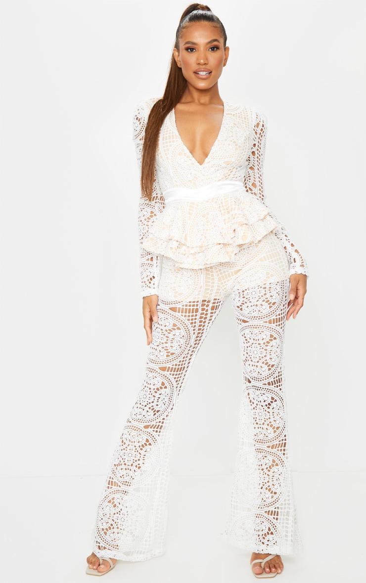 White Lace Peplum Detail Long Sleeve Jumpsuit 1