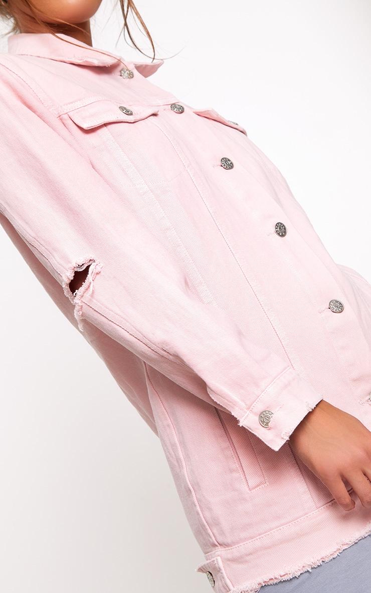 Light Pink Elbow Rip Denim Jacket 5