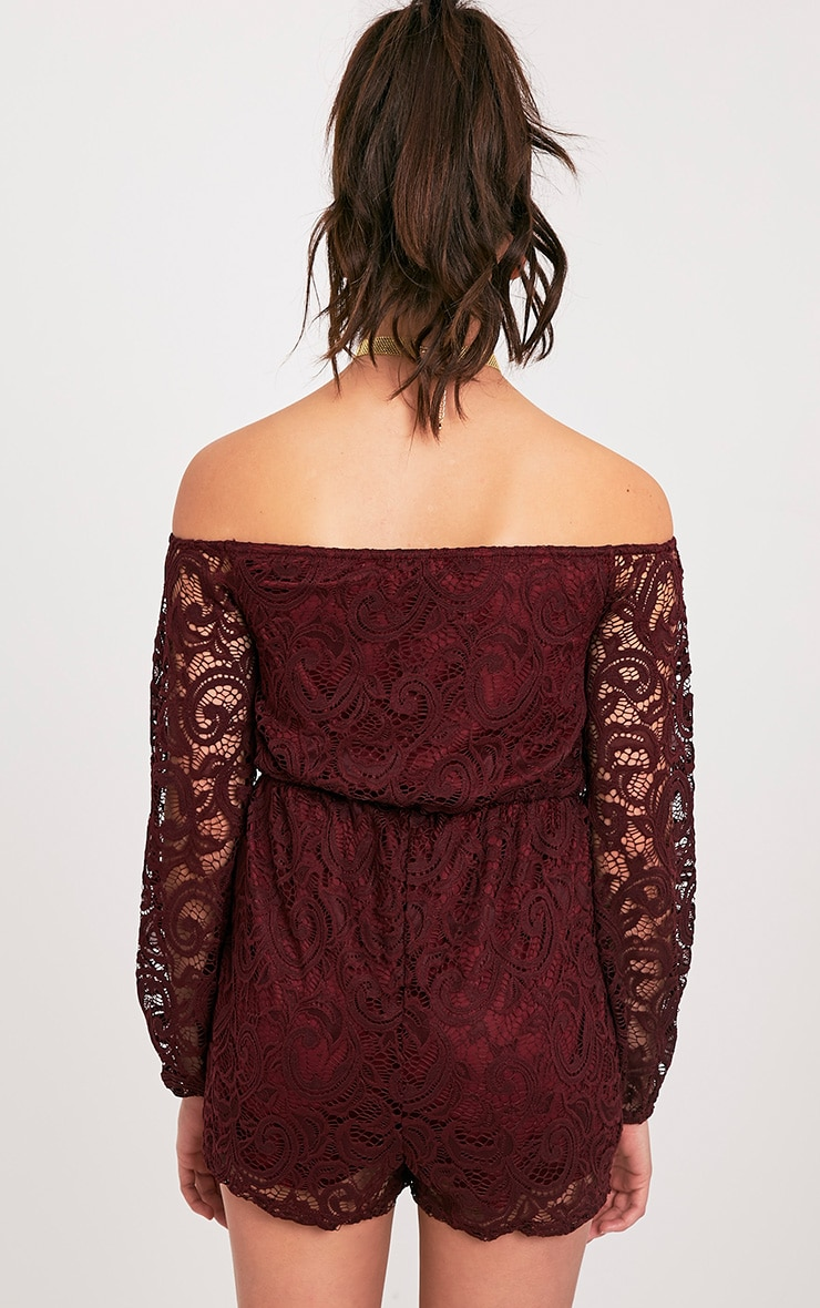 Ellora Burgundy Lace Bardot Long Sleeve Playsuit 2