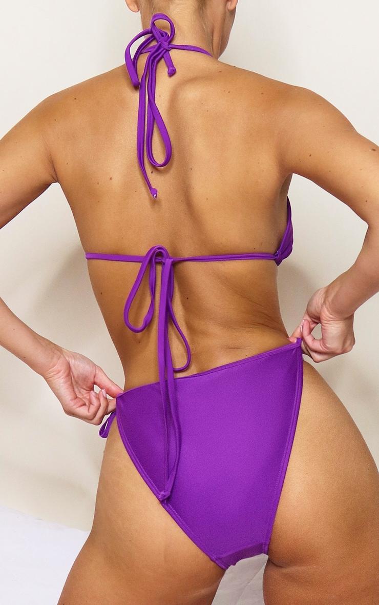 Purple Mix & Match Tie Side Bikini Bottoms 3