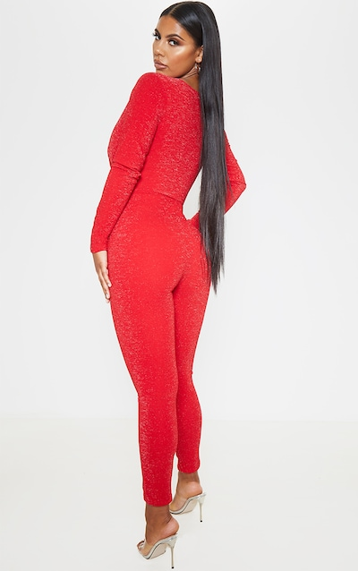 Red Glitter Plunge Long Sleeve Jumpsuit