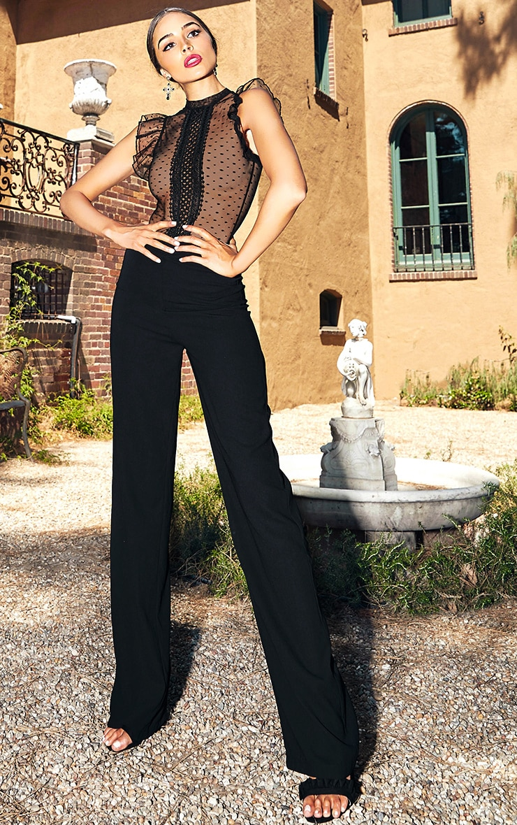 Black Wide Leg High Waisted Trousers