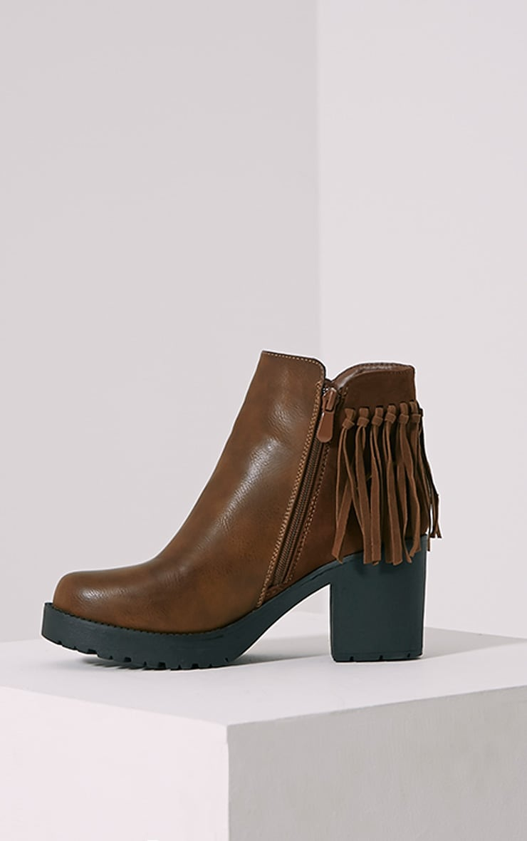 Juana Brown Chunky Tassel Ankle Boots 4