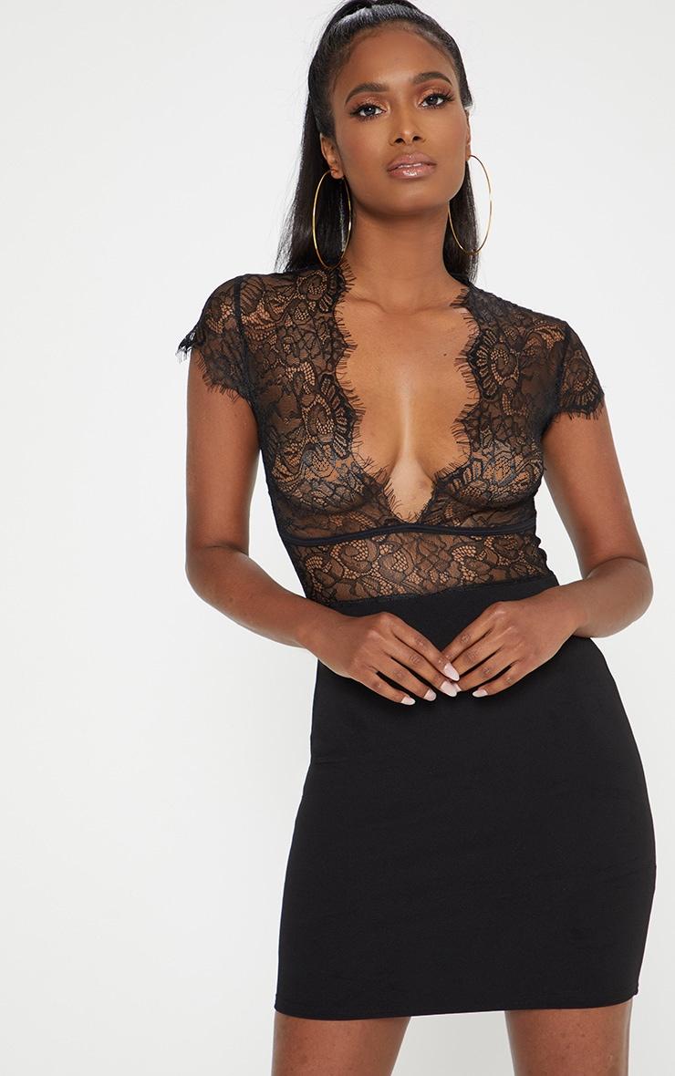 Black Lace Top Binding Detail Bodycon Dress 1