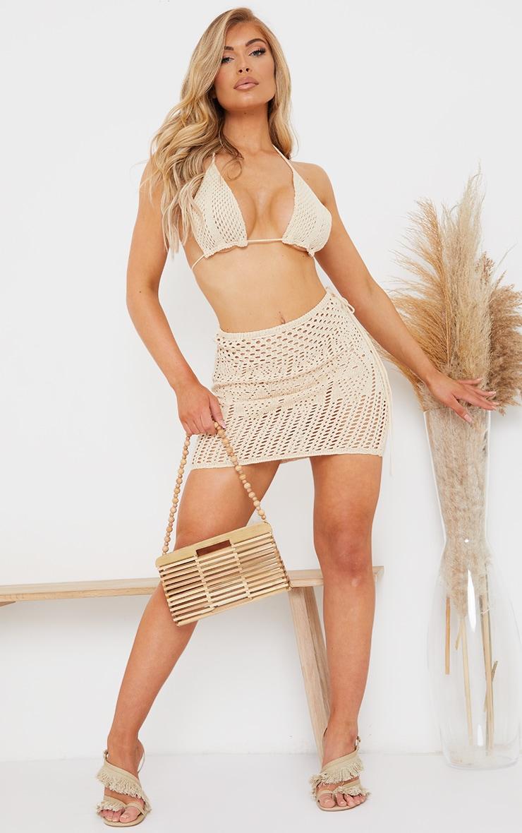 Oatmeal Crochet Bralet And Mini Skirt Set 3