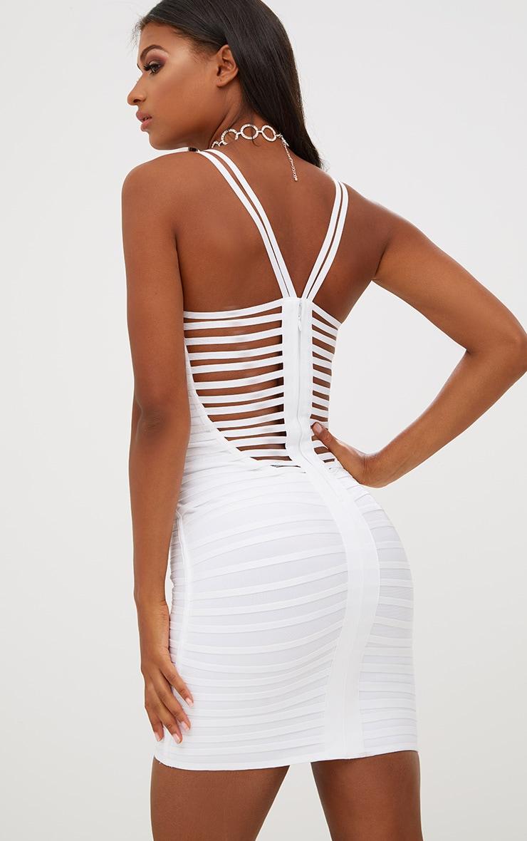 White Strappy Detail Bandage Bodycon Dress 2
