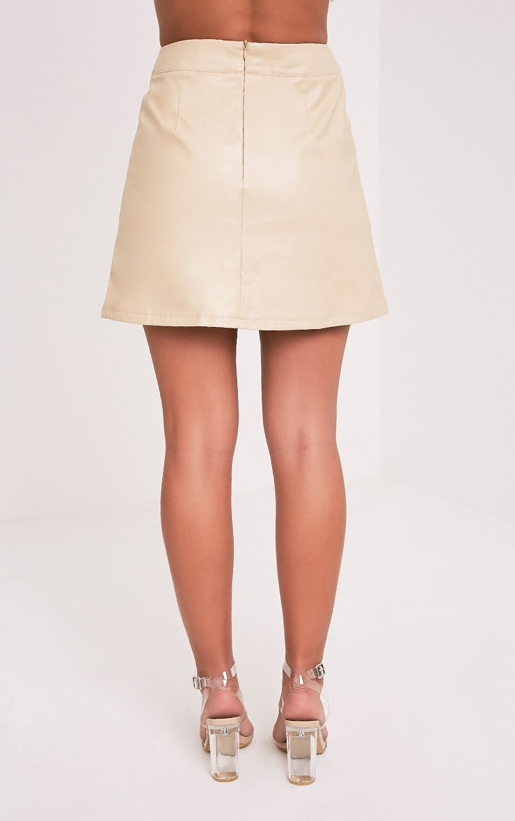Rose Stone Faux Leather A-Line Mini Skirt 5