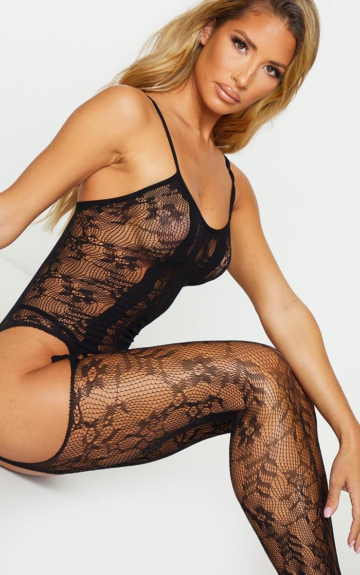 Black Lace Strappy Neck Suspender Body Stocking 4