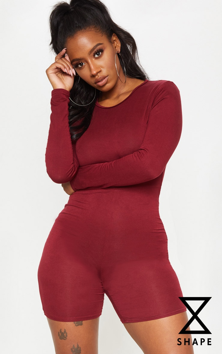 Shape Burgundy Jersey Long Sleeve Unitard