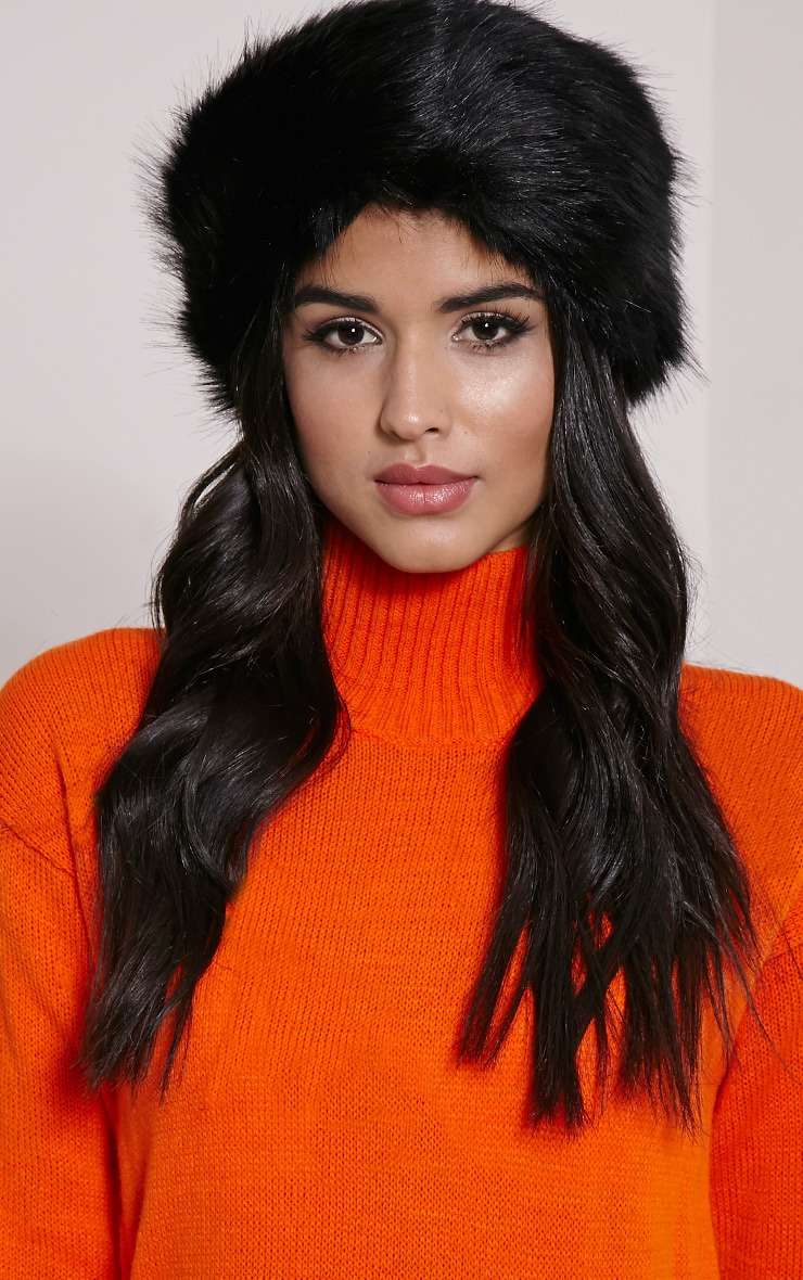 Harrie Black Faux Fur Headband 1