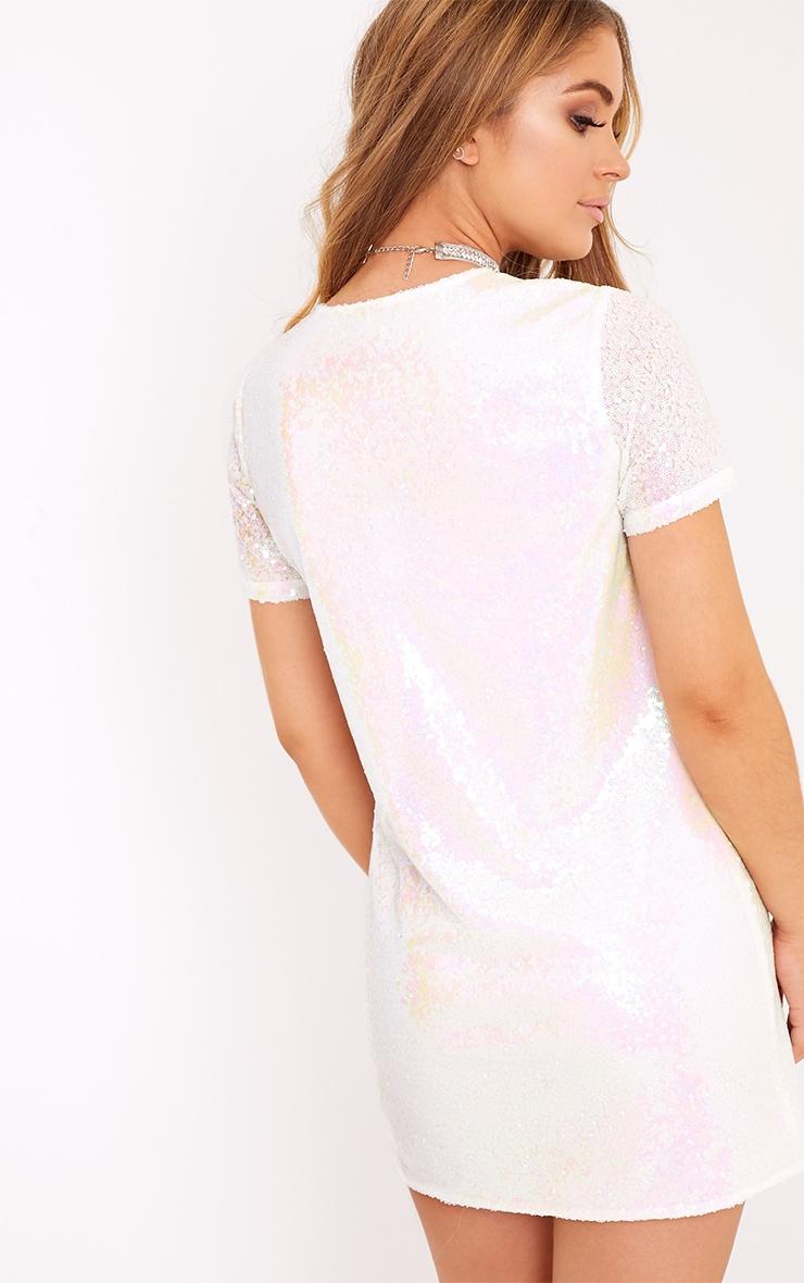 Tanaya White Short Sleeve Sequin T-Shirt Dress 2