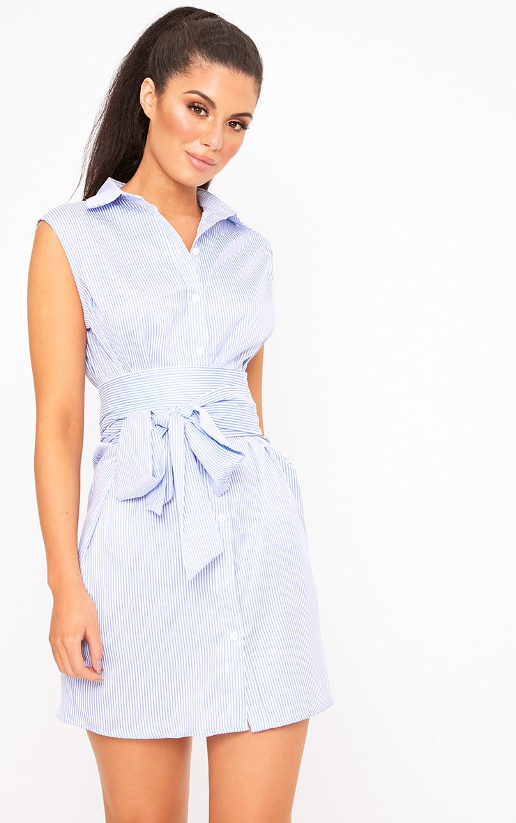 Blue Sleeveless Pinstripe Tie Waist Shirt Dress