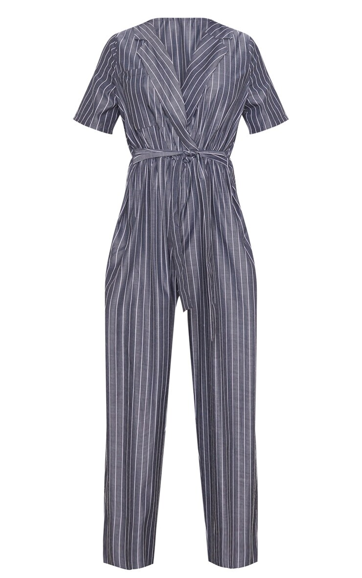 Charcoal Grey Pinstripe Short Sleeve Wrap Jumpsuit 3