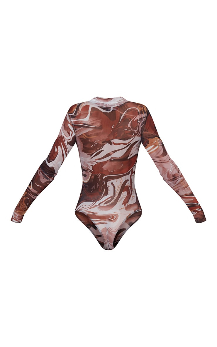 Brown Textured Marble Printed Mesh Contrast Stitch Long Sleeve Bodysuit 6