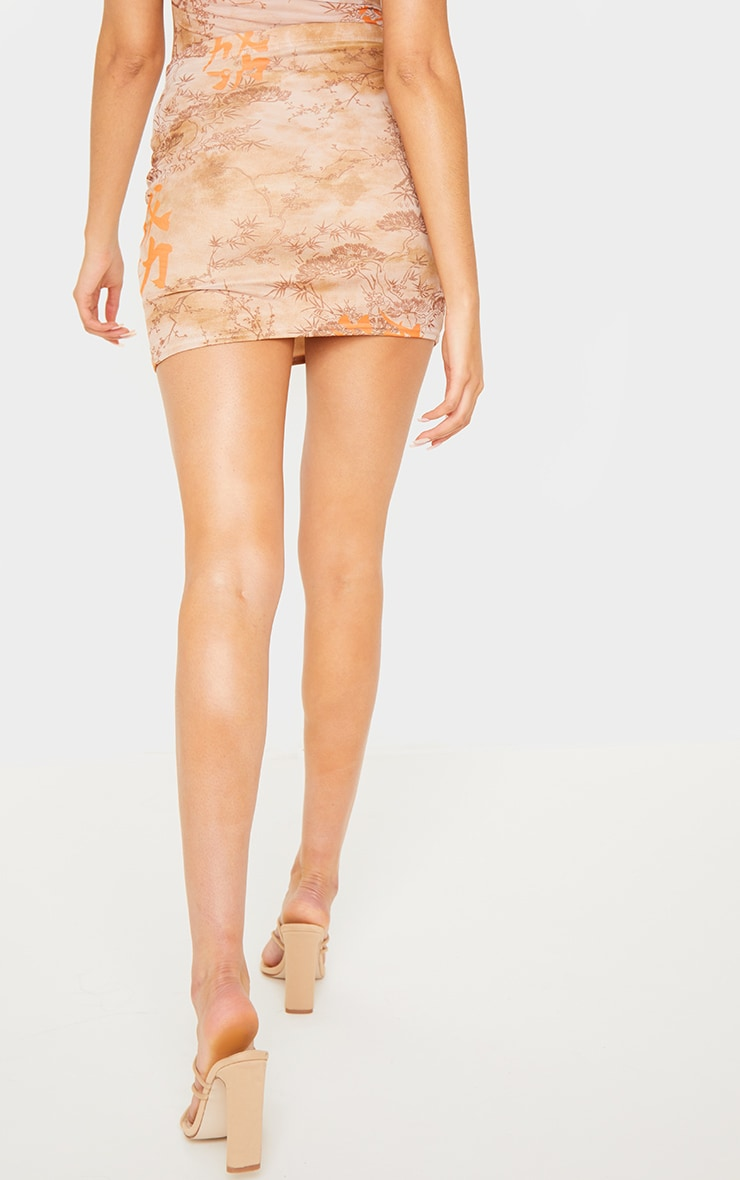 Nude Oriental Mesh Printed Mini Skirt 4