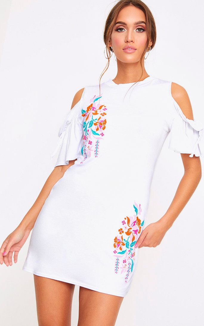 White Cold Shoulder Embroidered Print Shift Dress 1