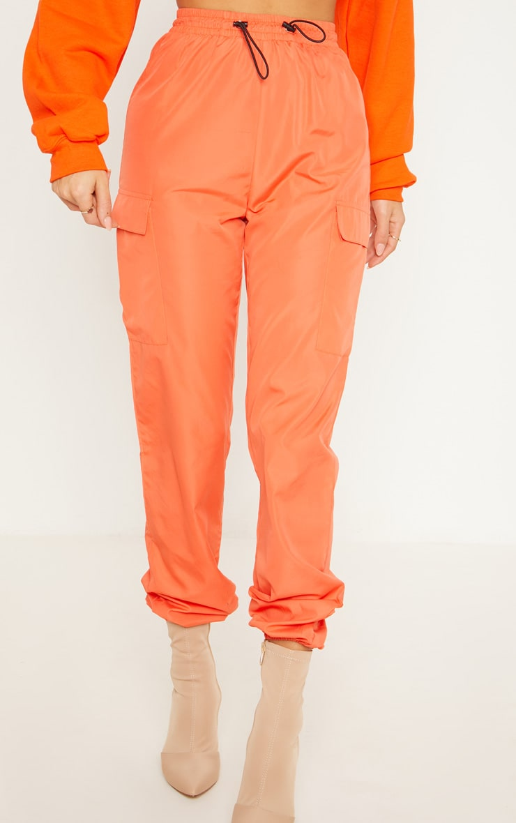 Orange Toggle Waist Shell Suit Track Pants 2