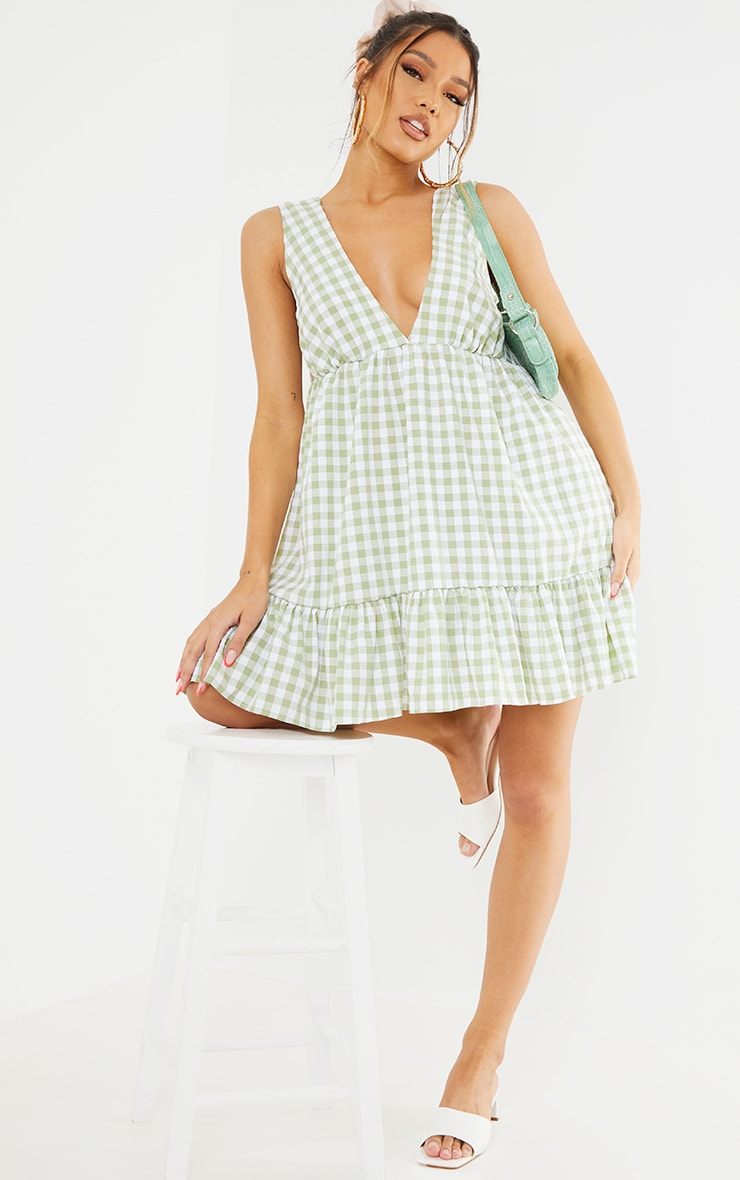 Sage Green Gingham V Neck Frill Hem Sleeveless Shift Dress 3