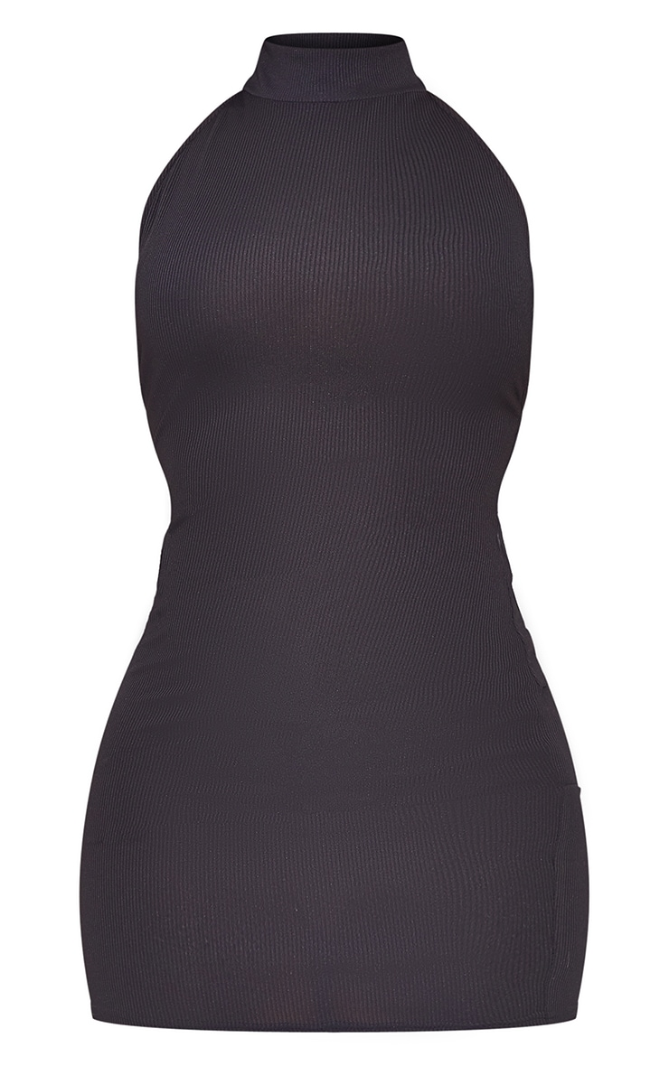 Black Ribbed High Neck Extreme Open Back Bodycon Dress 5