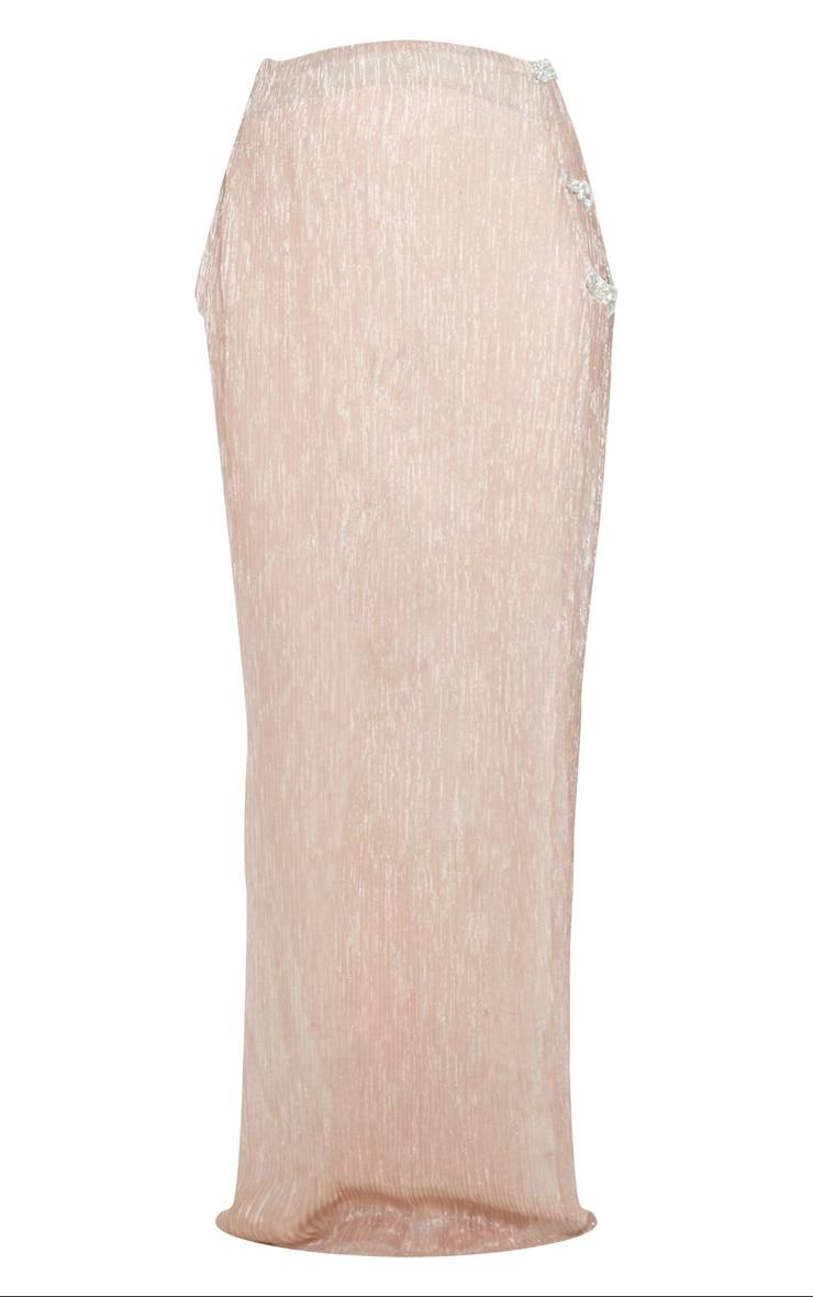 Pink Metallic Buckle Detail Side Split Maxi Beach Skirt 5