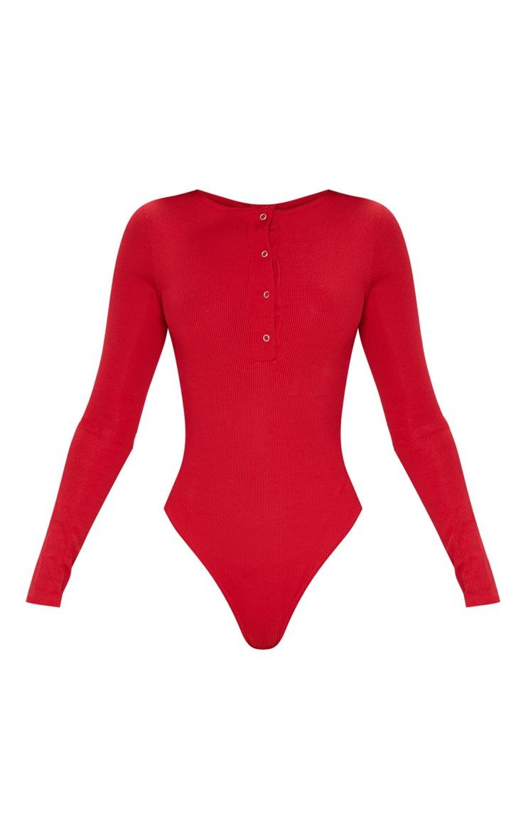 Red Long Sleeve Rib Popper Bodysuit 3