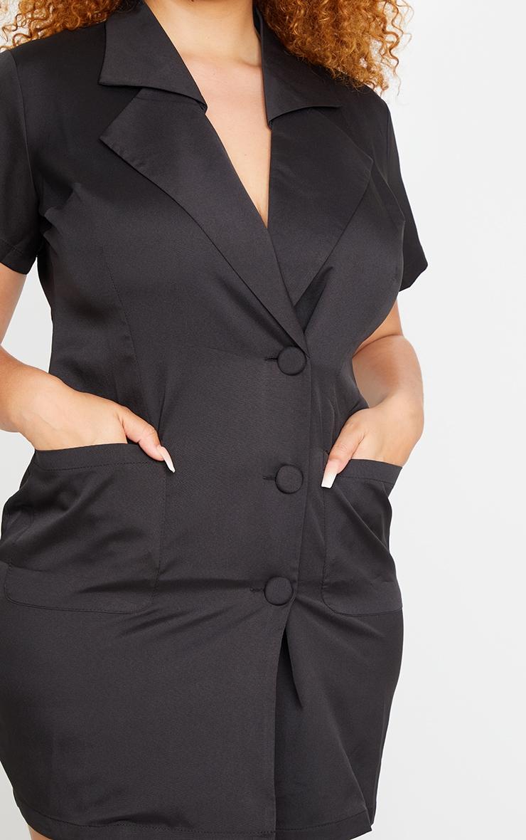 PLT Plus - Robe blazer noire boutonnée à manches courtes  4