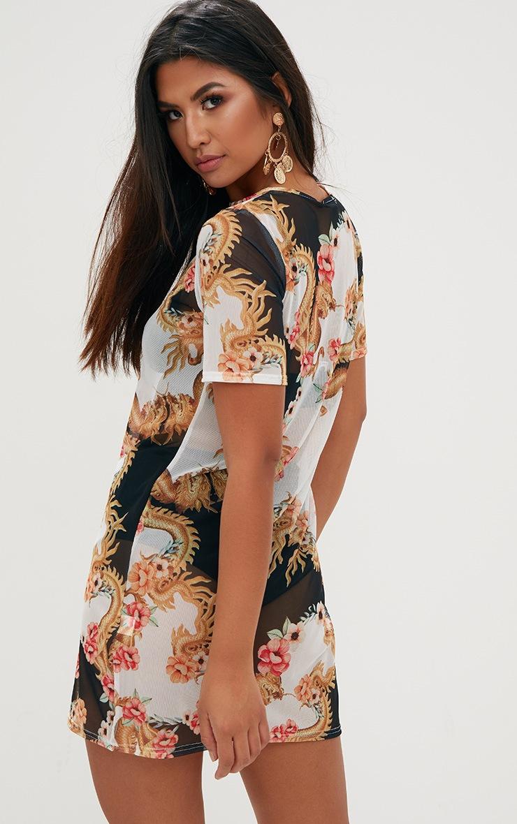 Black Mesh Oriental T Shirt Dress 2