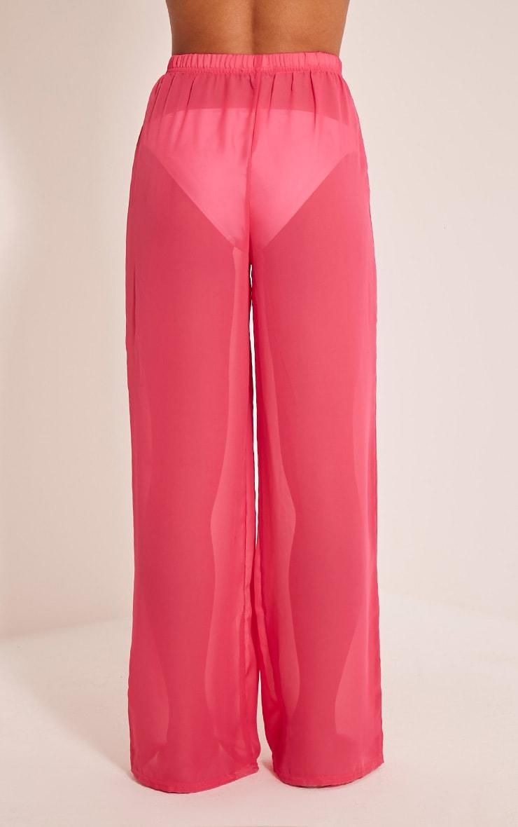 5a14e90468 Ashlyne Hot Pink Chiffon Beach Trousers | PrettyLittleThing