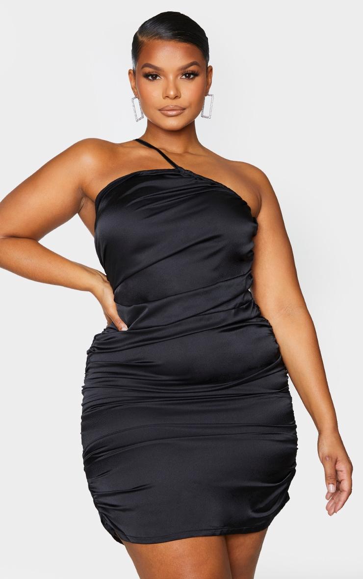 Plus Black Satin Asymmetric Bodycon Dress 2