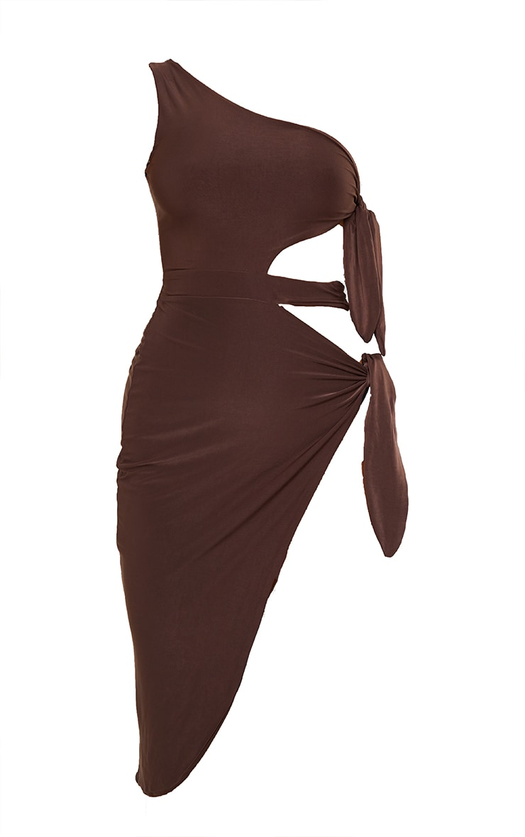 Chocolate One Shoulder Tie Side Midi Dress 6