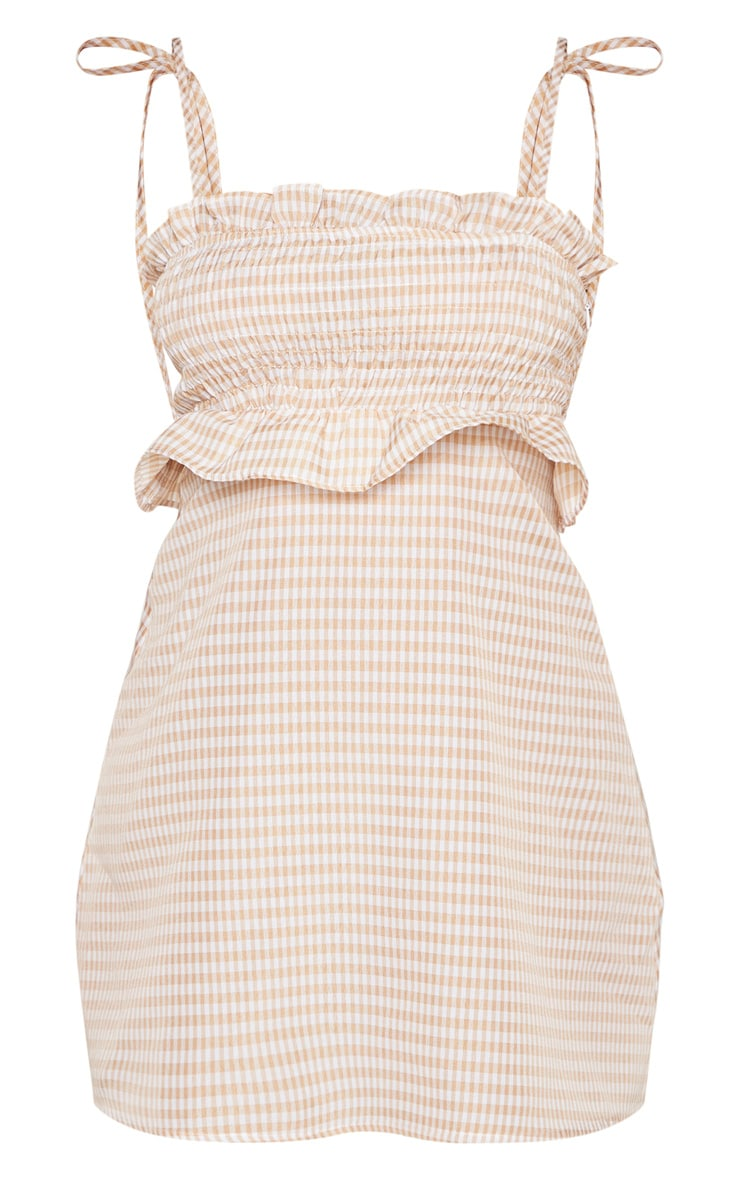 Petite Nude Gingham Tie Strap Shirred Detail Dress 3