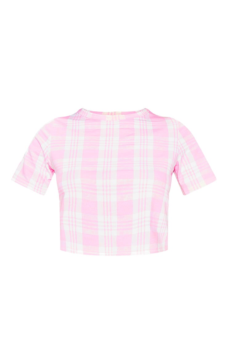 Pink Check Short Sleeve Lounge Top 3