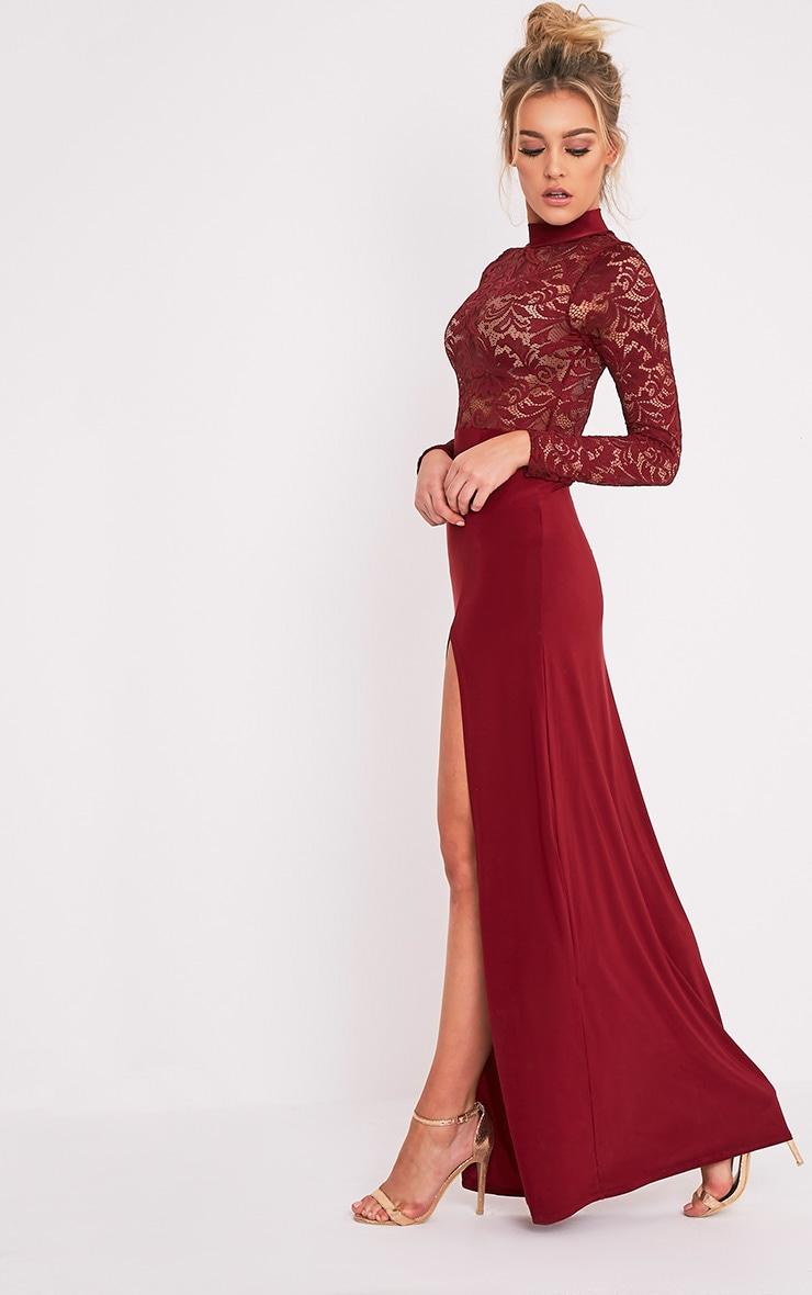 Maisie robe maxi fendue sur le côté à top en dentelle sang de bœuf 4
